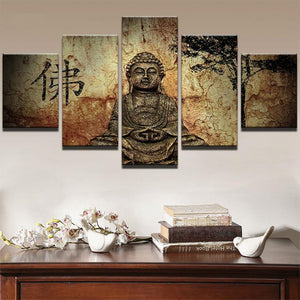 Vintage Buddha 5 Panels Wood N Canvas Wall Art Paintings