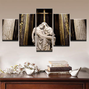 Virgin Mary and Jesus 5 Panels Wood N Canvas Wall Art Paintings