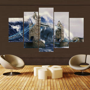 Wall Rolling Wave 5 Panels Wood N Canvas Wall Art Paintings