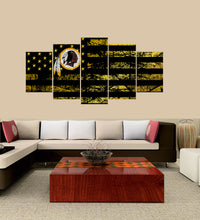 Load image into Gallery viewer, Washington Redskins logo 5 Panels Wood N Canvas Wall Art Paintings
