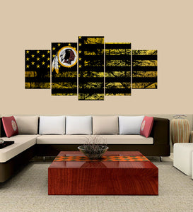 Washington Redskins logo 5 Panels Wood N Canvas Wall Art Paintings
