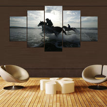 Load image into Gallery viewer, Water Horses 5 Panels Wood N Canvas Wall Art Paintings