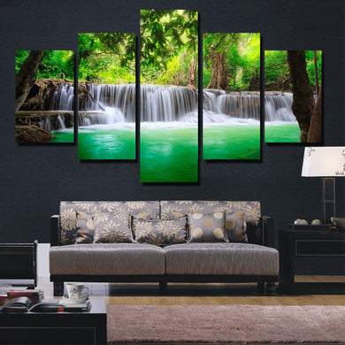 Waterfall-4 5 Panels Wood N Canvas Wall Art Paintings