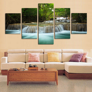 Waterfall 5 Panels Wood N Canvas Wall Art Paintings