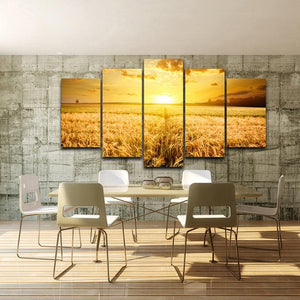 Wheat Field 5 Panels Wood N Canvas Wall Art Paintings