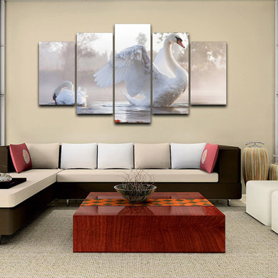 White Animal 5 Panels Wood N Canvas Wall Art Paintings