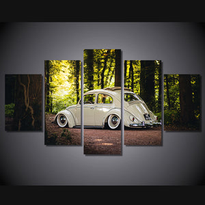 White Car-2 5 Panels Wood N Canvas Wall Art Paintings