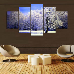 White Effect 5 Panels Wood N Canvas Wall Art Paintings