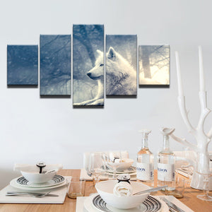 White Fox 5 Panels Wood N Canvas Wall Art Paintings