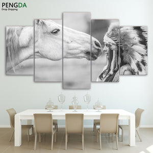White Horse 5 Panels Wood N Canvas Wall Art Paintings