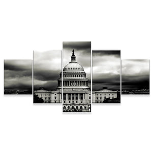 White House BW 5 Panels Wood N Canvas Wall Art Paintings
