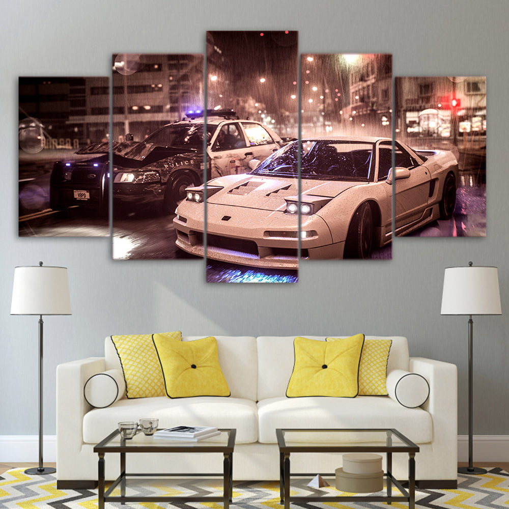 White Sport Car 5 Panels Wood N Canvas Wall Art Paintings