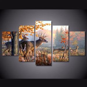 WhiteTail Deer 5 Panels Wood N Canvas Wall Art Paintings