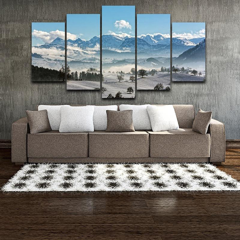 Winter Landscape 5 Panels Wood N Canvas Wall Art Paintings