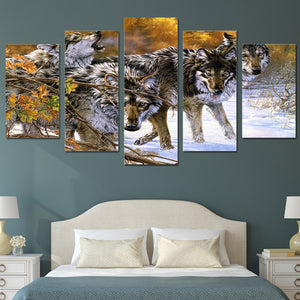 Wolf-4 5 Panels Wood N Canvas Wall Art Paintings