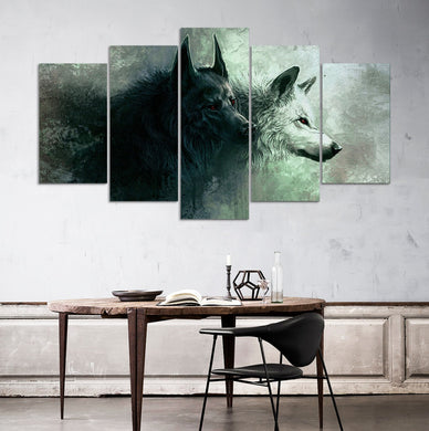 Wolf 5 Panel Wall Art Canvas Painting 5 Panels Wood N Canvas Wall Art Paintings