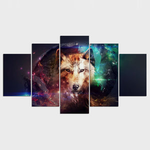 Wolf Collage 5 Panel Wall Art Canvas Painting