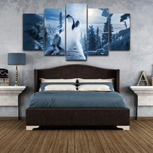 Load image into Gallery viewer, Wolf Howlingat the Moon 5 Panels Wood N Canvas Wall Art Paintings