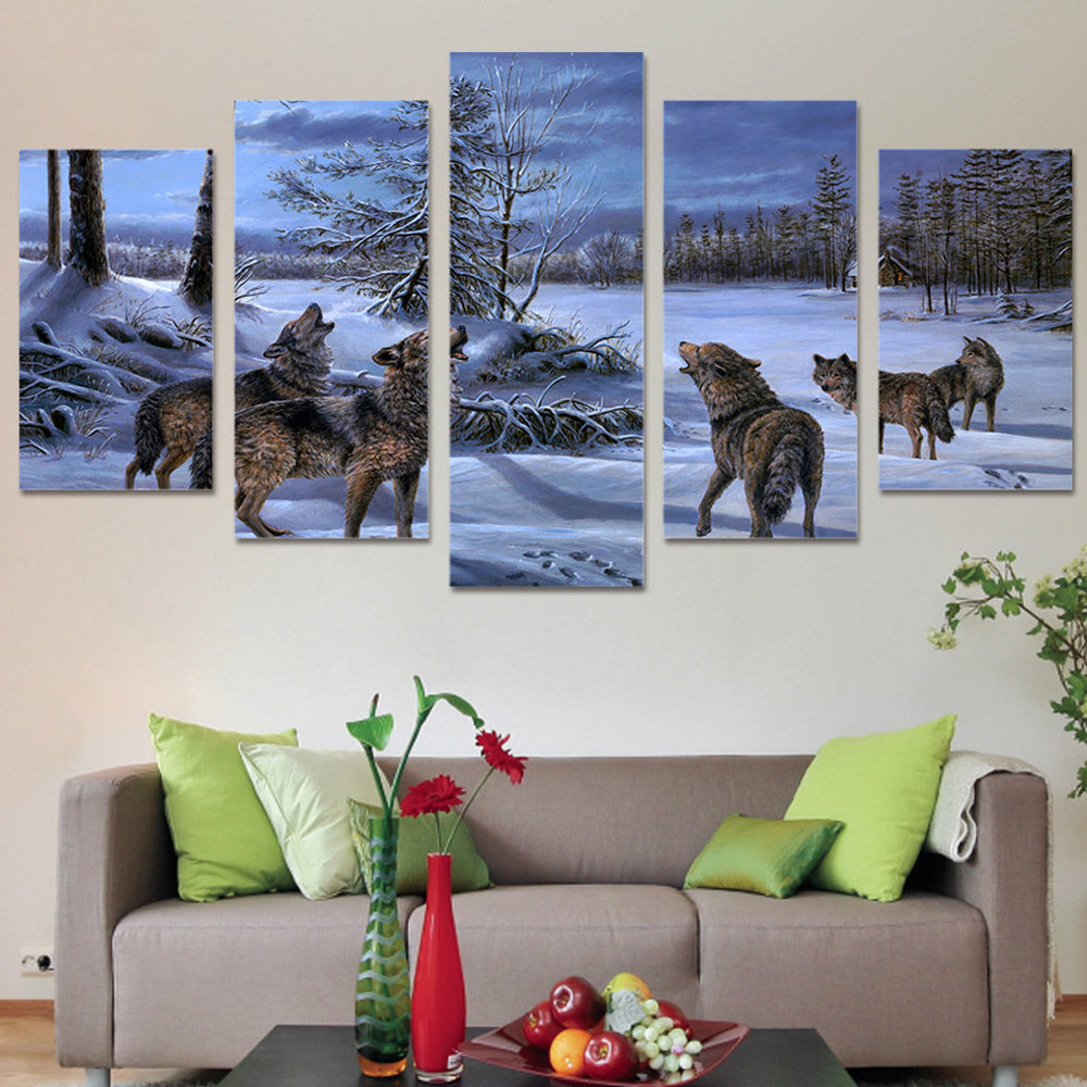 Wolf On The Snow 5 Panels Wood N Canvas Wall Art Paintings