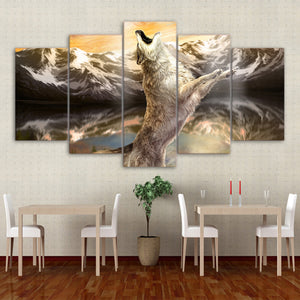 Wolf animal 5 Panels Wood N Canvas Wall Art Paintings