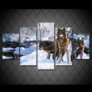 Wolves On The Snow 5 Panels Wood N Canvas Wall Art Paintings