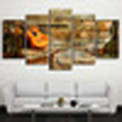 Wooden Guitar 5 Panels Wood N Canvas Wall Art Paintings