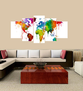 World Map 5 Panels Wood N Canvas Wall Art Paintings