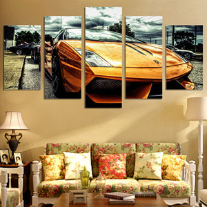 Yellow Car Large 5 Panels Wood N Canvas Wall Art Paintings