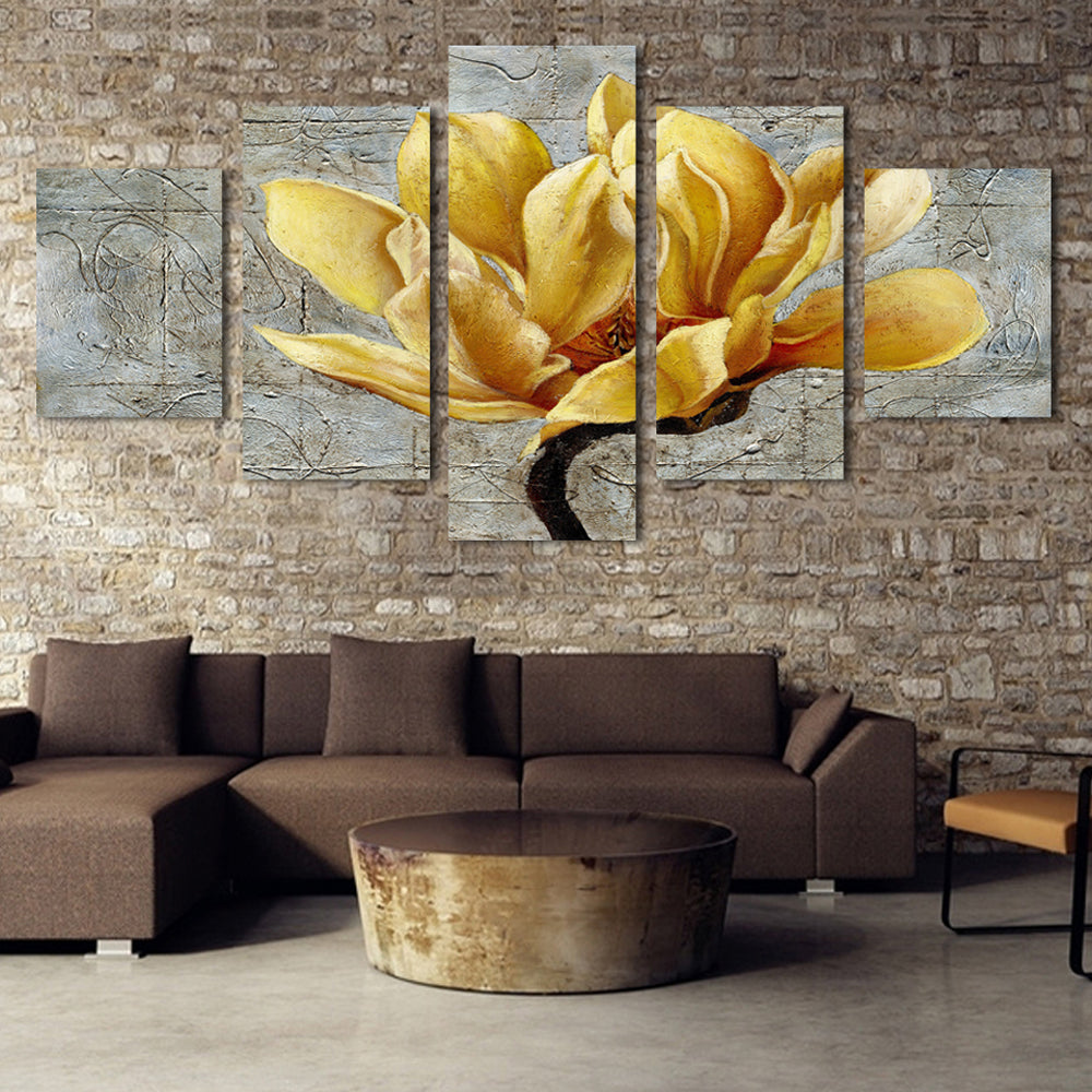 Yellow Flower-1 5 Panels Wood N Canvas Wall Art Paintings
