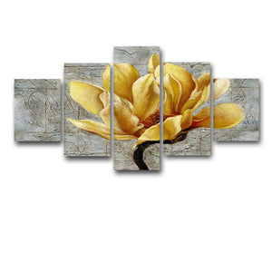Yellow Flower 5 Panel Wall Art Canvas Painting