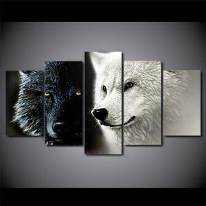 Ying & Yang Wolves 5 Panels Wood N Canvas Wall Art Paintings