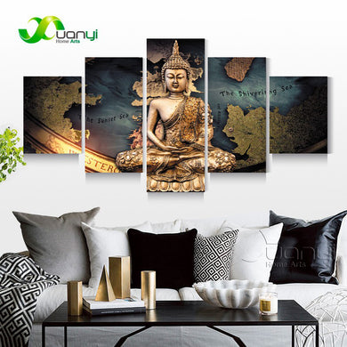 buddha Budas 5 Panels Wood N Canvas Wall Art Paintings