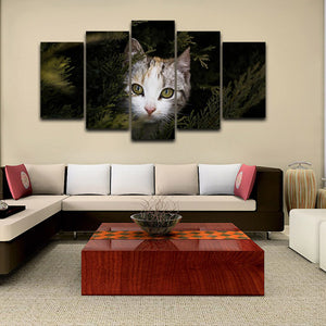 cat 5 Panels Wood N Canvas Wall Art Paintings