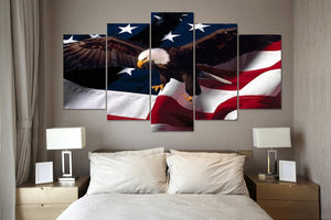 eagle USA flag 5 Panels Wood N Canvas Wall Art Paintings