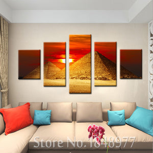 egyptian 5 Panels Wood N Canvas Wall Art Paintings
