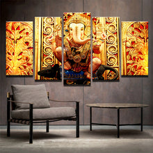 Load image into Gallery viewer, ganesha-1 5 Panels Wood N Canvas Wall Art Paintings