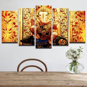 ganesha-1 5 Panels Wood N Canvas Wall Art Paintings