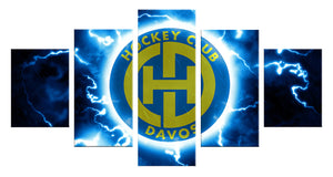 hockey club logo 5 Panels Wood N Canvas Wall Art Paintings