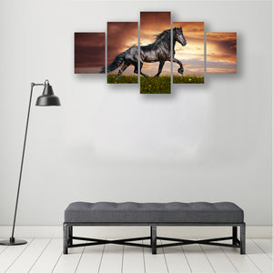 horse animal 5 Panels Wood N Canvas Wall Art Paintings