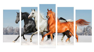 horses running in the snow 5 Panels Wood N Canvas Wall Art Paintings