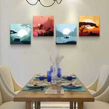 Load image into Gallery viewer, landscape Sunrise and sunset 4 Panels Wood N Canvas Wall Art Paintings