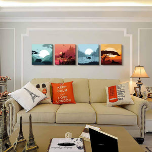 landscape Sunrise and sunset 4 Panels Wood N Canvas Wall Art Paintings
