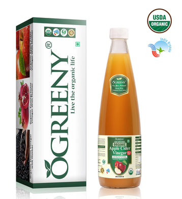 Ogreeny Organic Apple Cider Vinegar With Mother -Glass Bottle (Certified From USDA Organic And India Organic)