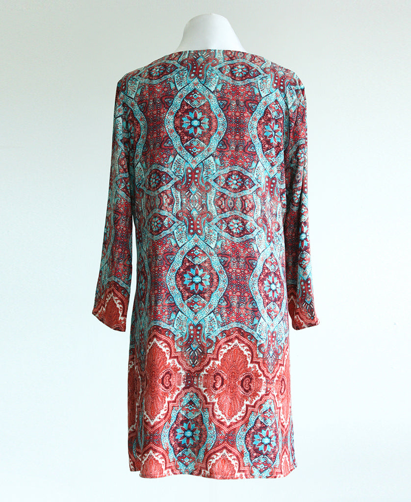 Classic Tunic dress in Coral & Turquoise