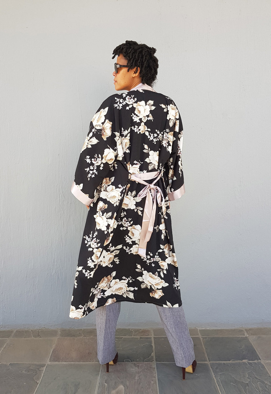 Satin Kimono Black Floral with Champagne Trim