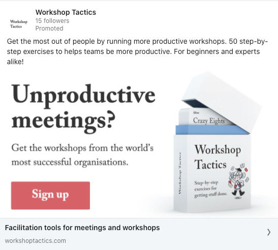 Workshop Tactics first LinkedIn advert