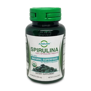 100% Spirulina 1000 mg Tablets x 60 Count Small Travel Size Bottle