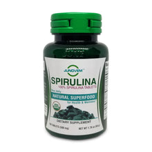 Load image into Gallery viewer, Organic Spirulina 500 mg Tablets x 100 Count travel size bottle