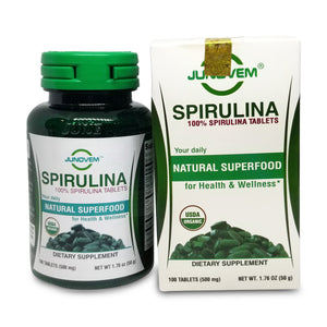 JUNOVEM Spirulina 500 mg Tablets x 100 Count Travel Bottle