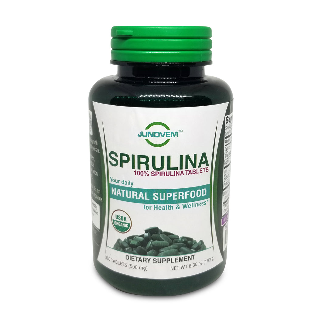Organic Spirulina 500 mg Tablets x 360 Count